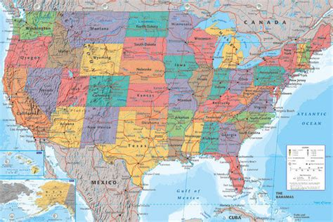 usa map 18 x 24 map of the united states of america poster print usa