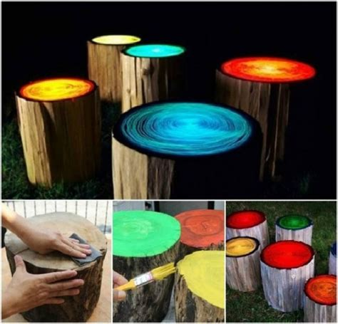 glow in the paint yard glow in the log cfire stools 183 woodworkerz