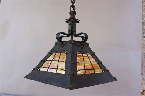 Slag Glass Chandelier Antique Circa 1910 Wrought Iron Chandelier Pendant With Slag Glass At 1stdibs