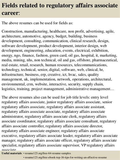 top 8 regulatory affairs associate resume sles