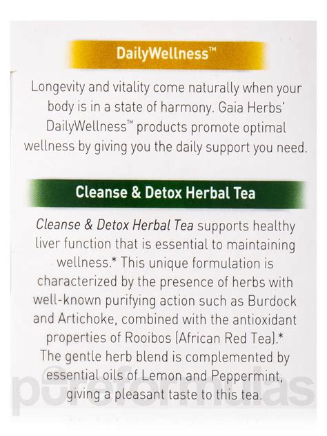 Gaia Herbs Cleanse And Detox Tea Reviews by Cleanse Detox Tea 20 Bags