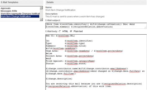 Customizing Email Notifications In The Ibm Rational Team Concert Web Client Email Change Notification Template