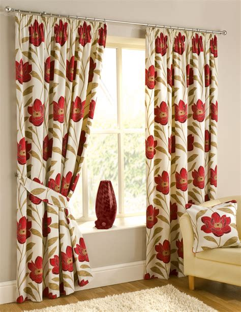 red floral drapes interior inspiring detail of the curtain with big red