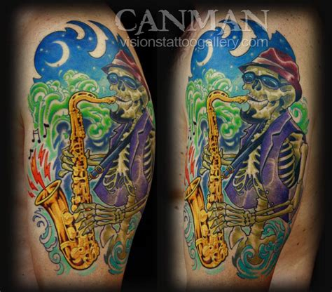 visions tattoo jazz saxophone skeleton by canman tattoonow