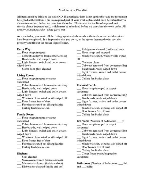 maid checklist template actual service cleaning checklist homemaking 101