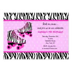 zebra print roller skates birthday invitations 5 quot x 7 quot invitation card zazzle