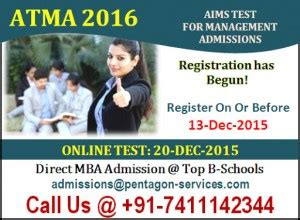 Atma Mba Date by Atma 2016 Date Dec 2015 Test Aims Mba Pgdm