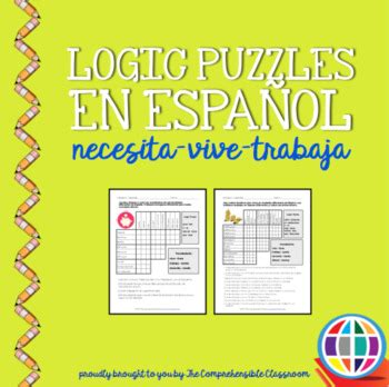 printable logic puzzles medium puzzles logic puzzles in spanish necesita vive trabaja tpt
