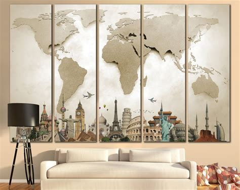 big wall art large world map canvas print wall art 13 or 5 panel by