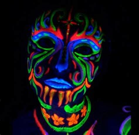 glow in the paint hema black light reactive neon makeup with black