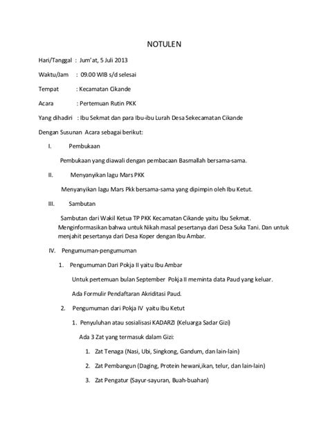 Susunan Notulen Rapat by Notulen Juli2013