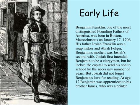 benjamin franklin childhood biography the life of benjamin franklin