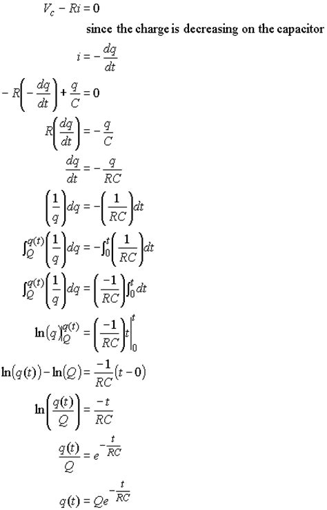 capacitor discharge equation derivation capacitor circuits