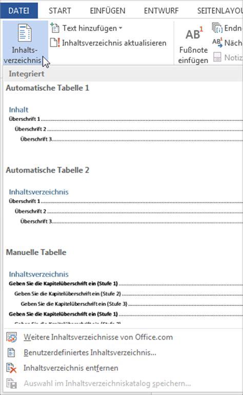 Vorlage Inhaltsverzeichnis Word Erstellen Eines Inhaltsverzeichnisses Word