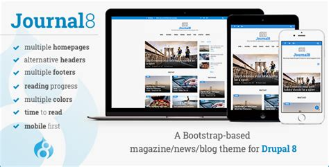 themeforest drupal 8 journal8 mobile first drupal 8 theme by morethanthemes
