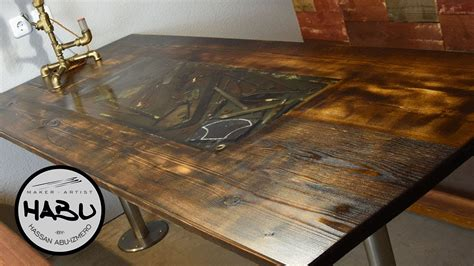 rustic dining table  rusty tool epoxy inlay lesson