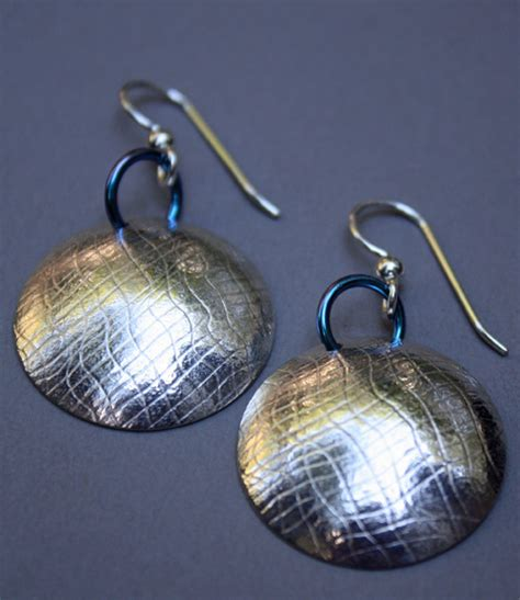 Handcrafted Sterling Silver Jewellery - handmade sterling silver and niobium domed earrings