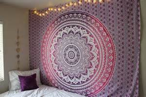 purple ombre mandala cotton wall tapestry bedding
