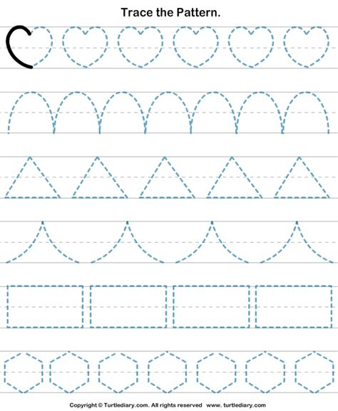 pattern writing for kindergarten trace the pattern worksheet 4 turtle diary