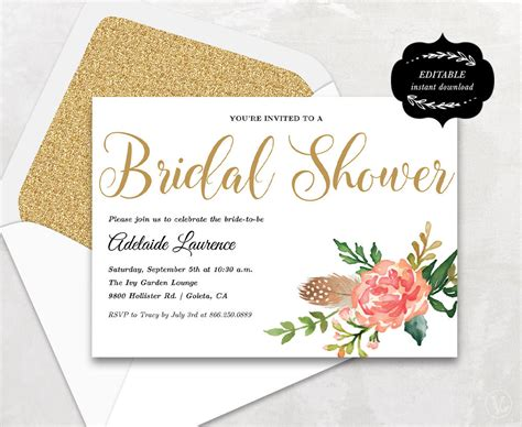 Bridal Shower Template Printable Bridal Shower Invitation Wedding Shower Invitation Template