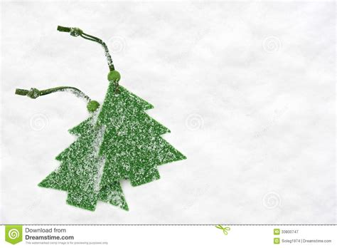 christmas green tree toys in snow royalty free stock
