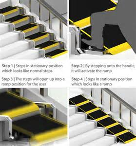 Wheelchair Ramps For Steep Stairs by Convertible Stair Ramp Home Accessibility Design Concept