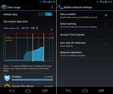 android usage statistics how to turn mobile data usage on android
