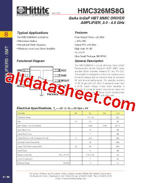 326 transistor datasheet hmc326ms8g datasheet pdf hittite microwave corporation