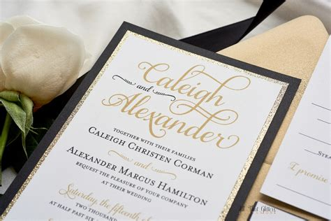 black and gold wedding invitations nz caleigh formal wedding invitation with glitter all that glitters invitations