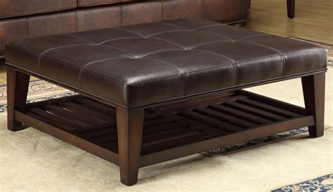48 inch square ottoman hayton burundy leather tufted leg shelf cocktail table
