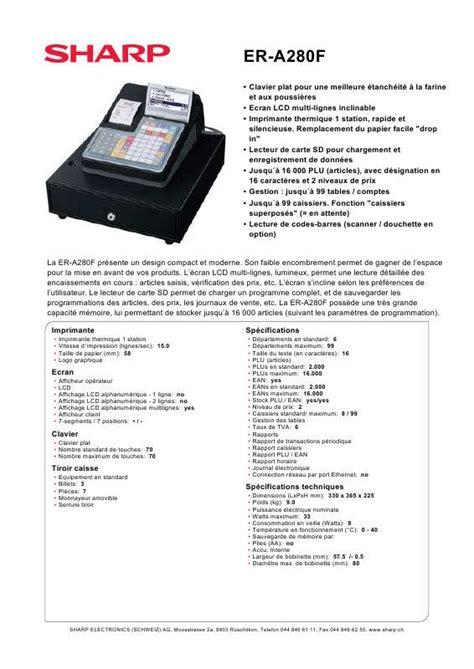 Mesin Kasir Sharp Er A280f mode d emploi sharp er a280f autres trouver une solution
