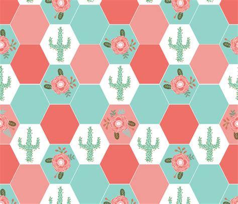 Hexagon Patchwork Blanket - hexagon cheater quilt cactus blanket cactus quilt