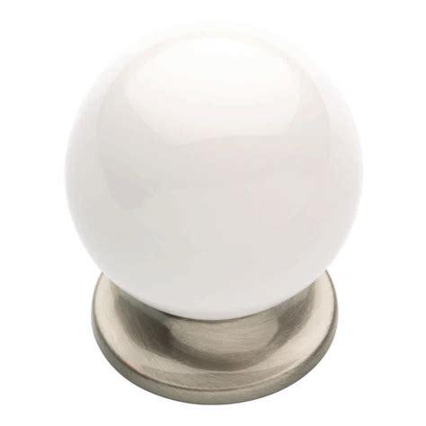 white cabinet knobs liberty 1 3 5 in satin nickel and white ceramic round