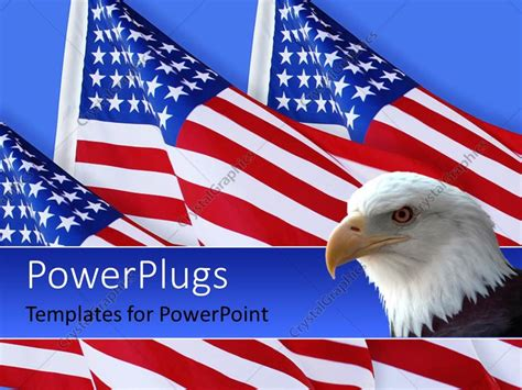 Powerpoint Template American Eagle With Three American Flags On Blue Background 1654 American Powerpoint Templates
