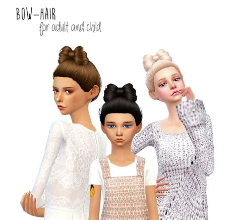 sims 4 children cc dani paradise non alpha bow hair sims 4 hairs http