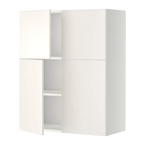 White Armoire With Shelves Metod Wall Cabinet With Shelves 4 Doors White Veddinge
