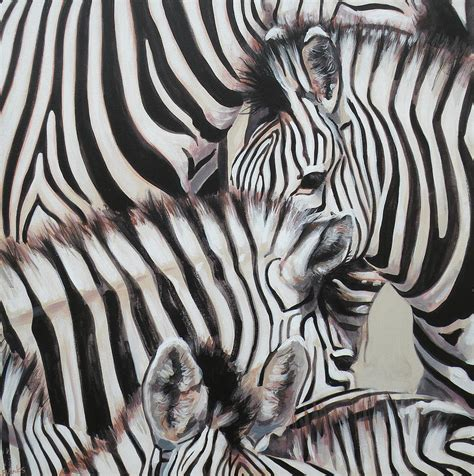 zebra painting zebra triptyche left by leigh banks