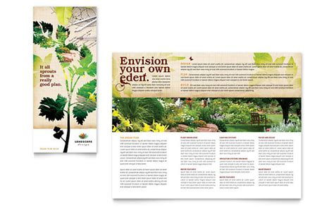 Brochure Layout Landscape | landscape design tri fold brochure template design