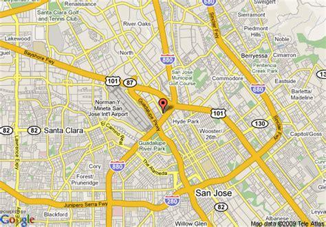san jose airport hotels map map of executive inn airport san jose