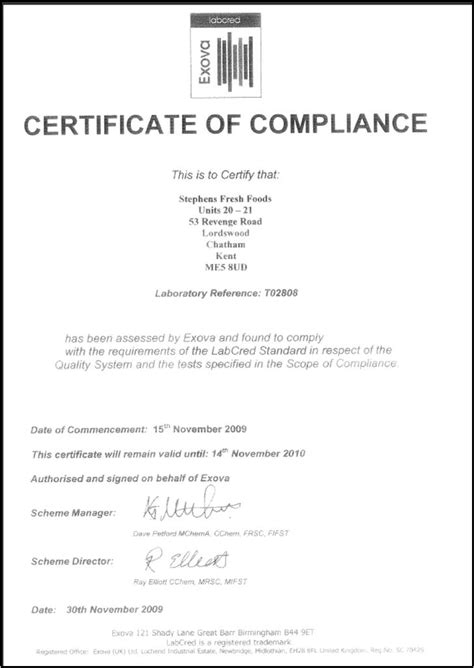 Certificate Of Compliance Template For Electrical Image Collections