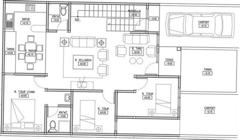 layout rumah 2 kamar denah rumah sederhana 3 kamar tidur 2 lantai cv karisma