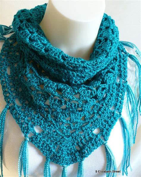 triangle neck pattern crocheted triangle scarf with fringe bright teal neck