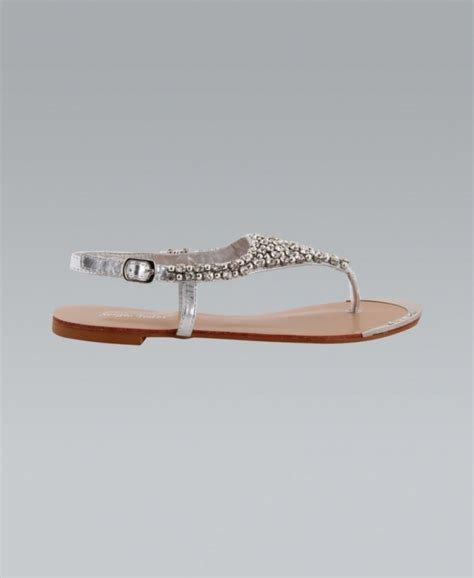 silver flat slingback shoes krisp diamante studded silver slingback flat sandals