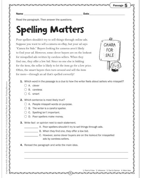 Grade 4 Comprehension Worksheets Free by Comprehension Passages For Grade 4 Worksheets