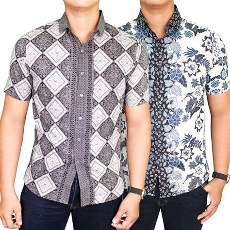 Kemeja Batik Modern Kombinasi Putih Polos kemeja batik pria slimfit modern lengan pendek batik