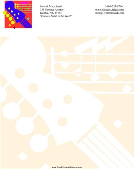 printable music stationery guitar stationery