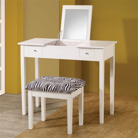 White Vanity Table Modern White Lift Top Make Up Table Vanity Set Study Desk W Zebra Stool Drawers Ebay