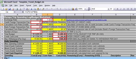 Engineering Excel Templates by Engineering A Travel Plan European Travel Budget Template