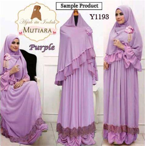 Baju Busana Muslim Gamis Polos Zada Mutiara Syari Sett Navy Murah baju gamis bergo mutiara syari y1193 busana muslim cantik