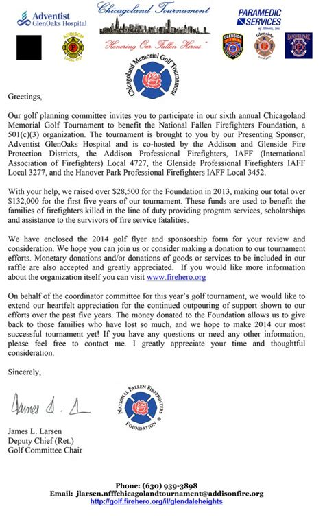 Golf Fundraising Letter Chicagoland Memorial Golf Tournament To Benefit The National Fallen Firefighters Foundation